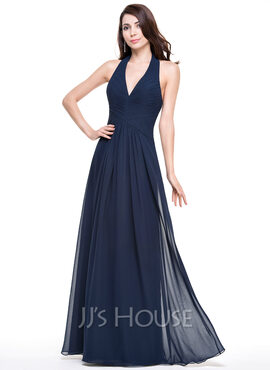 A-Line/Princess Halter Floor-Length Chiffon Evening Dress With Ruffle (017067276)