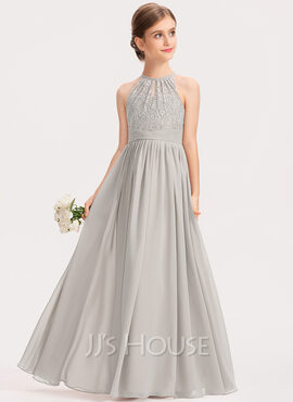 A-Line Scoop Neck Floor-Length Chiffon Lace Junior Bridesmaid Dress With Ruffle (009191699)
