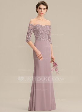Trumpet/Mermaid Off-the-Shoulder Floor-Length Chiffon Lace Bridesmaid Dress (007176746)