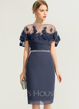 Sheath/Column Sweetheart Knee-Length Chiffon Cocktail Dress With Ruffle Beading (016170896)