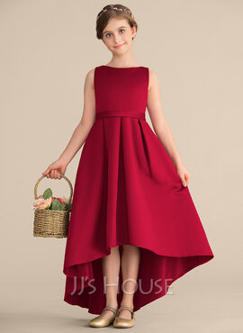 A-Line/Princess Scoop Neck Asymmetrical Satin Junior Bridesmaid Dress With Ruffle Pockets (268183963)