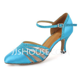 Women's Satin Sparkling Glitter Heels Pumps Ballroom With Ankle Strap Dance Shoes (053021532)