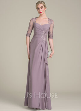 A-Line/Princess Sweetheart Floor-Length Chiffon Evening Dress With Beading Sequins Cascading Ruffles (017113532)