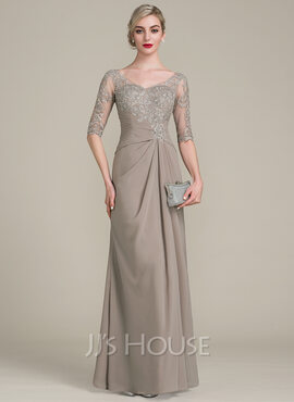 A-Line V-neck Floor-Length Chiffon Lace Mother of the Bride Dress With Ruffle (008102681)