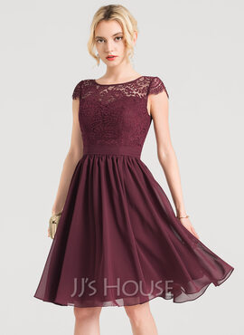 A-Line Scoop Neck Knee-Length Chiffon Bridesmaid Dress (007224076)