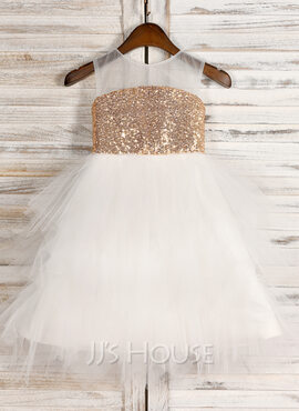 A-Line/Princess Tea-length Flower Girl Dress - Tulle/Sequined Sleeveless Scoop Neck (010091702)