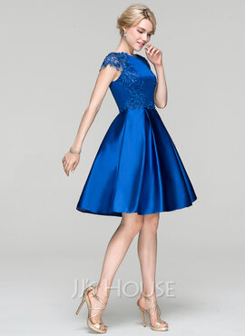 A-Line/Princess Scoop Neck Knee-Length Satin Cocktail Dress (016094343)