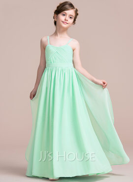 A-Line/Princess Sweetheart Floor-Length Chiffon Junior Bridesmaid Dress With Cascading Ruffles (009095079)