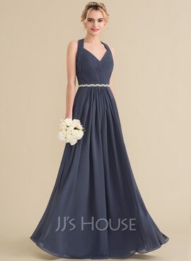 A-Line/Princess V-neck Floor-Length Chiffon Bridesmaid Dress With Ruffle Beading Bow(s)