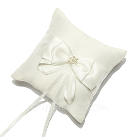 Mini Ring Pillow in Satin With Bow/Faux Pearl (103053075)