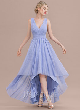 A-Line/Princess V-neck Asymmetrical Tulle Bridesmaid Dress With Ruffle (266177046)