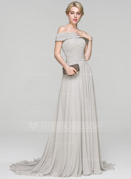 A-Line/Princess Off-the-Shoulder Court Train Chiffon Evening Dress With Ruffle (017093460)