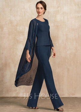 Jumpsuit/Pantsuit Scoop Neck Floor-Length Chiffon Mother of the Bride Dress (008217329)