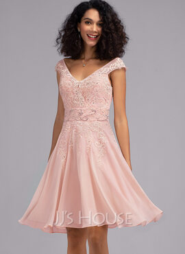 A-Line V-neck Knee-Length Chiffon Cocktail Dress With Beading Sequins (016216062)