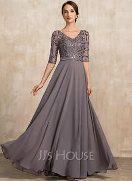 A-Line V-neck Floor-Length Chiffon Mother of the Bride Dress With Beading Sequins (008217295)