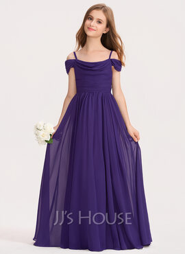 A-Line Off-the-Shoulder Floor-Length Chiffon Junior Bridesmaid Dress With Ruffle (009191739)