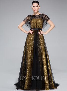 A-Line/Princess Scoop Neck Sweep Train Tulle Sequined Evening Dress With Ruffle Beading (017046262)