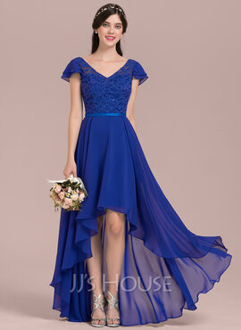 A-Line V-neck Asymmetrical Chiffon Lace Bridesmaid Dress With Beading Sequins (007126434)