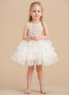 Ball-Gown/Princess Knee-length Flower Girl Dress - Satin/Lace/Cotton Sleeveless Scoop Neck (010092642)