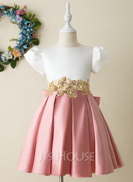 A-Line Knee-length Flower Girl Dress - Satin Short Sleeves High Neck With Bow(s) (010206270)