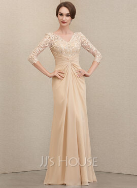 Sheath/Column V-neck Floor-Length Chiffon Lace Mother of the Bride Dress With Ruffle (008204908)