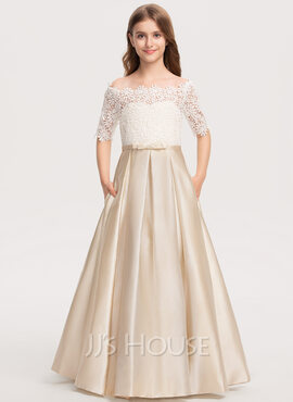 Ball-Gown/Princess Off-the-Shoulder Floor-Length Satin Lace Junior Bridesmaid Dress With Bow(s) Pockets (009208598)
