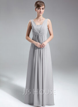 A-Line/Princess V-neck Floor-Length Chiffon Holiday Dress With Ruffle Beading Sequins (020039557)