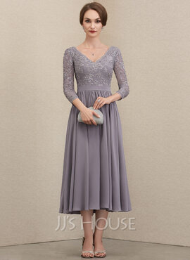 A-Line V-neck Tea-Length Chiffon Lace Mother of the Bride Dress With Beading Sequins (008204907)