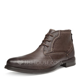 Men's Real Leather Chelsea Casual Men's Boots (261176709)