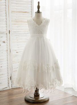 A-Line Tea-length Flower Girl Dress - Tulle/Lace Sleeveless V-neck With Bow(s)/V Back (010164744)