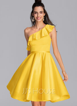 A-Line One-Shoulder Knee-Length Satin Homecoming Dress With Cascading Ruffles (022206521)