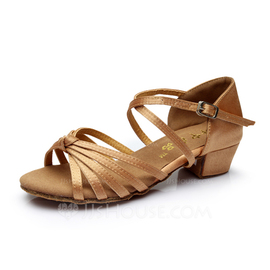Kids' Satin Heels Sandals Latin With Ankle Strap Dance Shoes