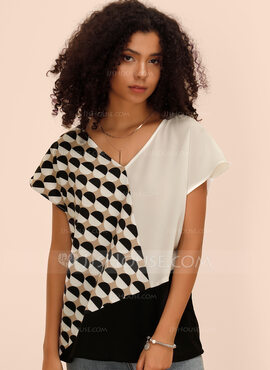 Manches courtes Polyester Spandex Col V Blouses (1003223702)