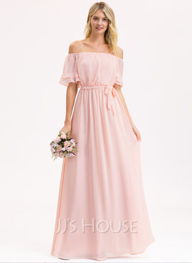A-Line Off-the-Shoulder Floor-Length Chiffon Bridesmaid Dress With Bow(s) Cascading Ruffles (007206494)