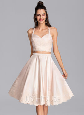 A-Line Sweetheart Knee-Length Satin Homecoming Dress (022206517)
