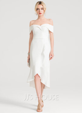 Trumpet/Mermaid Off-the-Shoulder Asymmetrical Stretch Crepe Wedding Dress With Cascading Ruffles (002207432)