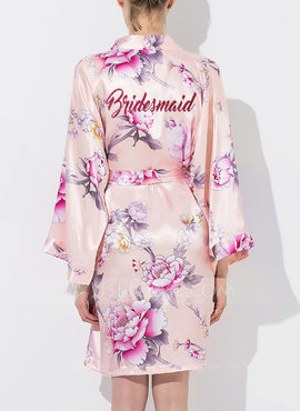 Silk Bridesmaid Floral Robes Glitter Print Robes (248176081)