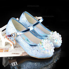 Girl's Round Toe Closed Toe Leatherette Low Heel Flats With Buckle Sparkling Glitter Crystal (207218175)
