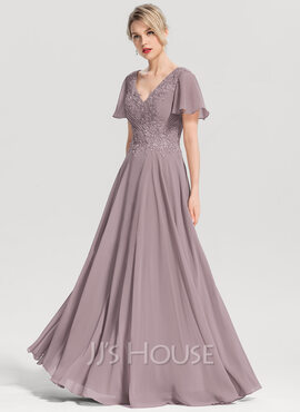 A-Line V-neck Floor-Length Chiffon Evening Dress With Beading (017153655)