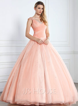 Ball-Gown V-neck Floor-Length Prom Dresses With Ruffle Beading Sequins (018112895)