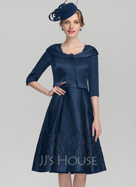 A-Line Square Neckline Knee-Length Satin Mother of the Bride Dress With Appliques Lace (008131969)