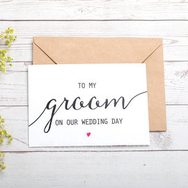 Groom Gifts - Modern Card Paper Wedding Day Card (257184613)