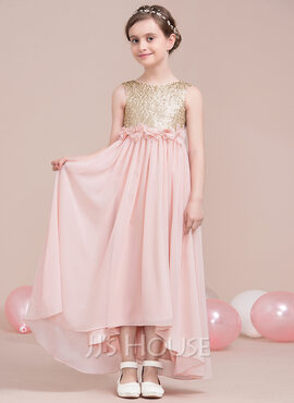 A-Line Scoop Neck Asymmetrical Chiffon Junior Bridesmaid Dress With Flower(s) Bow(s) (009115400)