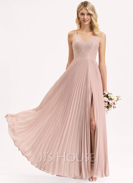 A-Line V-neck Floor-Length Chiffon Lace Bridesmaid Dress With Bow(s) Split Front Pleated (007206478)