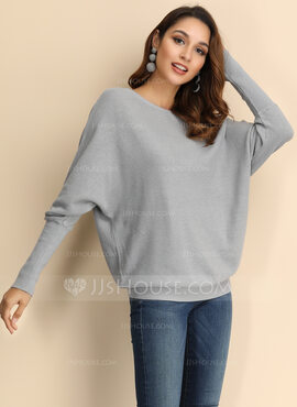 Solid Polyester Off the Shoulder Gensere Gensere (1002223260)