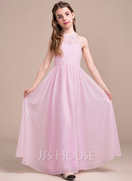 A-Line Scoop Neck Floor-Length Chiffon Junior Bridesmaid Dress With Ruffle (009081144)