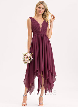 A-Line V-neck Ankle-Length Chiffon Lace Bridesmaid Dress (007206486)
