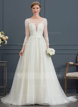 Ball-Gown/Princess Illusion Court Train Tulle Wedding Dress (002171926)