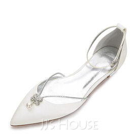 Women's Silk Like Satin Flat Heel Closed Toe Flats With Crystal (273186715)