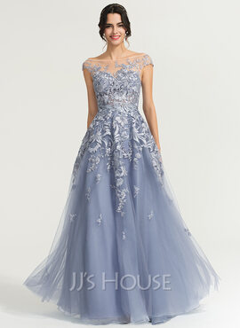 A-Line/Princess Scoop Neck Floor-Length Tulle Evening Dress (017169831)